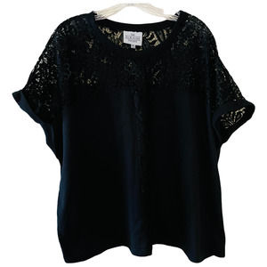 LF The Sloane Society Lace Insert Crew Neck Top